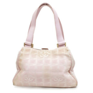 CHANEL Handbag logo canvas pink