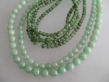 1 loose str 8mm & 6mm natural aventurine beads & 2 loose str 4mm Jade bead/ 16""