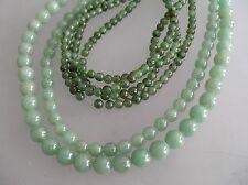 "1 loose str 8mm & 6mm natural aventurine beads & 2 loose str 4mm Jade bead/ 16"""
