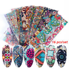 16pcs/pack Retro Nail Foil Transfer Stickers Set Flower Mixed Printing Decals-