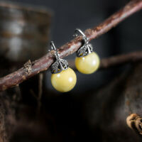 Baltic Amber Earrings Antique White Amber Earrings Sterling Silver Vintage Amber
