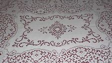VINTAGE WHITE QUAKER ART DECO LACE TABLECLOTH FLORAL ROSES DESIGN SCALLOPED EDGE