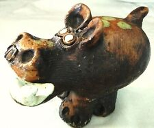 Large Clay Hand Painted Hippopotamus