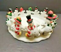 PARTYLITE P7436 Frolicking Frostys 3 WICK CANDLE HOLDER in Box DANCING SNOWMEN