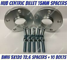 Alloy Wheel Spacers 15mm x 2 Bmw E36 E46 E90 E91 E92 E93 M12x1.5 Bolts 5x120 72-