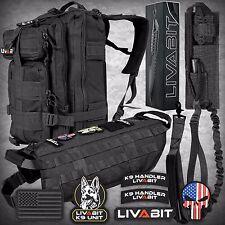 LIVABIT Tactical K9 Vest Combo Backpack Dog Harness Paracord Knife Patch Leash
