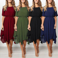 New Women Casual Short Sleeve O Neck Knee Length Dress Evening Party Dresses