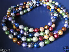 PEARL NECKLACE MULTI COLOR KALEIDOSCOPE STRAND STRING SILVER GIFT HONORA