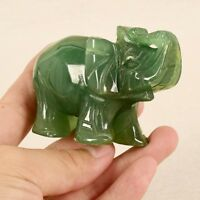 Handmade Carved Natural Green Jade Stone Craving Elephant Statue Home Decor QL