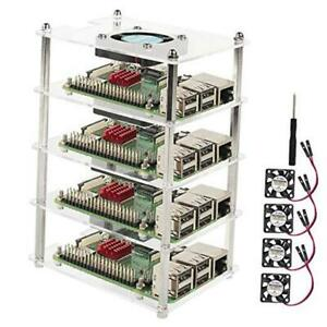 4 Slot Raspberry Pi 4 Cluster Case, Raspberry Pi 3 Clear Case with Cooling