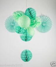 Mint Series Tissue Paper Poms & Fan & Honeycomb Ball& Drop& Lantern Decoration
