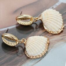 Natural Shell Drop Earrings Summer Boho Seashell Jewelry Ivory Color Accessories