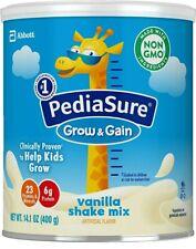 Pediasure Grow & Gain Vanilla Shake Mix 14.1 oz 6 Cans Exp 12/1/20  free shippin