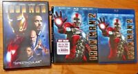 (4) Discs Marvel Iron Man 1 DVD & Iron Man 2 (3-Disc Blu-ray/DVD/Dig) Slipcover