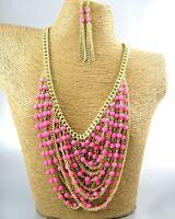 Elegant Pink Beads Fashion Necklace Earrings Costume Women Jewelry