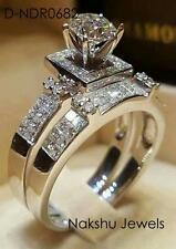 Ring Set 925 Sterling Silver 2.50Ct White Round Moissanite Antique Engagement