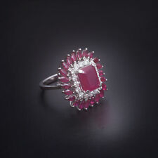 Classy 3.67 Cts Natural Diamonds Ruby Cocktail Ring In Solid 18Karat White Gold