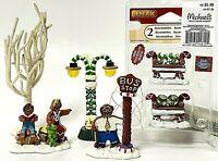 Lemax Sugar N Spice Christmas Village Accessories Gingerbread Bus Stop & Lamp