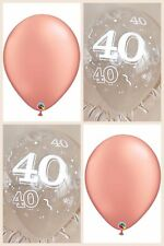 Rose Gold Balloons & Clear Printed 40th BIRTHDAY BALLOONS Party Decorations x 12