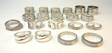 SILVER TONE LOT OF 20 WIDE BAND JEWELED RINGS W/ ACCENT SMALL BANDS *