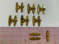 Lot of 4+ fancy vintage brass hinged delicate box closures with catches