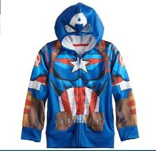 Size XL 14//16 Boy/'s Captain America Hoodie Blue White Red
