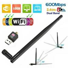 600Mbps 2.4/5Ghz Dual Band Wireless USB WiFi Network Adapter 802.11AC w/ Antenna