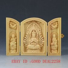 Chinese Boxwood Highly Difficulty Carved Thousand-Hand Kwanyin Floding Box QW111