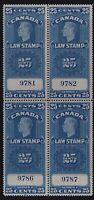 Canada VD #FSC24 (1938-67) 25c King George VI SUPREME COURT Law Revenue Block