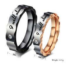 2pcs Free Engraving Titanium ring Gear edge Couple promise rings sets Wedding.