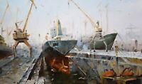 Original Oil Painting On Canvas - Landscape - The Dock