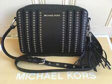 Michael Kors Mini Grommets EW Cross Body Leather Black Messenger Bag$298