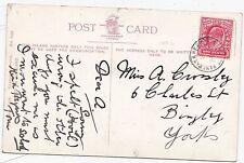 * 1906 RARE St PANCRAS & DERBY S T RAILWAY POSTMARK ON GLITTER CARD 1d RATE