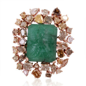 Ice Diamond Carved Emerald Cocktail Ring 18k Rose Gold Handmade Jewelry