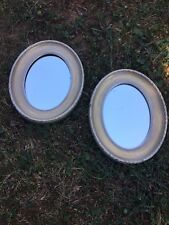 Antique Oval Victorian Gold Scalloped Frame Non Beveled MIRRORS Set of 2 Estate