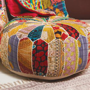 Large Pouffe Round Multi Colour Patchwork Kantha Indian Cushion Style Footstool