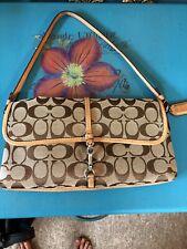 Coach Tan Leather & Signature Small Handbag Purse
