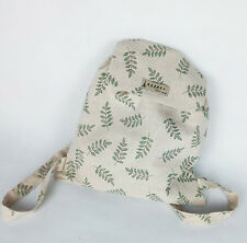 Handmade Cotton Linen Draw String Backpack Student Book Bag Olive Branch WF01 B