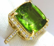 $18000 GIA 19.30ct NATURAL VIVID GREEN CUSHION PERIDOT DIAMOND RING HALO 18KT