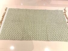 Sea Green & White CHEVRON Handmade Cotton Reversible Washable Zig Zag Kilim Rugs