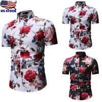 US Fashion Men Summer Casual Dress Shirt Floral Short Sleeve Slim Shirt Tops Tee