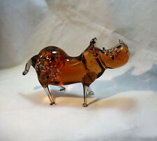 Art Blown Glass Murano Figurine Glass Figurine Hippopotamus