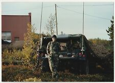 Vintage 80s PHOTO Military Young Man Guy In Fatigues & Face Paint w/ Jeep