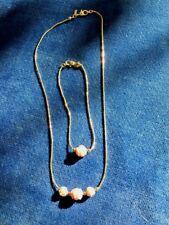 Vintage MONET Necklace Bracelet or Anklet SET of 2 PINK ELEGANT MARBLE ROSE ❤️j8