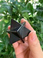 """Shungite Merkaba, 2.2"""" Diagonal Polished Shungite Star / Stones, EMF Protection"""