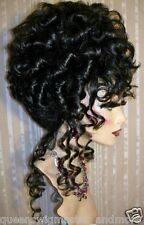Drag Queen Wig Curly Up Do Black ( Darkest Brown) French Twist Curls Tendrils