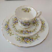 Vintage Elizabethan China Tea Cup, Saucer, Plate Floral, Blue Clematis, 3 Piece