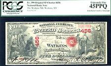 1875, $5 Fr# 399 $5 Nbn-Charter # 399- National Watkins, Ny Pcgs 45Ppq