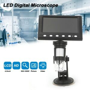 """8 LED Magnifier 4.3"""" 1000X Microscope HD LCD Monitor Electronic Digital Video"""