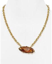 "ROBERT LEE MORRIS Soho Topaz Glass Stone Leaf Pendant Gold-Plated 20"" Necklace"